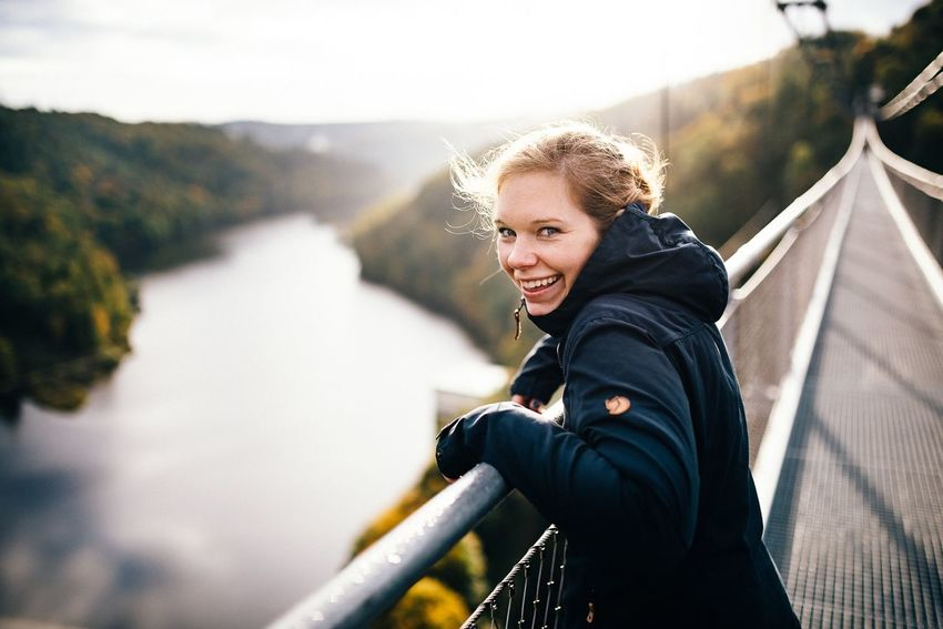 A short stop at europeans longest hanging rope bridge! EyeEm EyeEm Nature Lover EyeEm Best Shots Sun Sun Sunrise Bridge Lifestyles Leisure Activity Happiness Outdoors Railing Smiling Young Women Day One Young Woman Only Real People Women Blond Hair Portrait One Woman Only Sky People Adult Nature