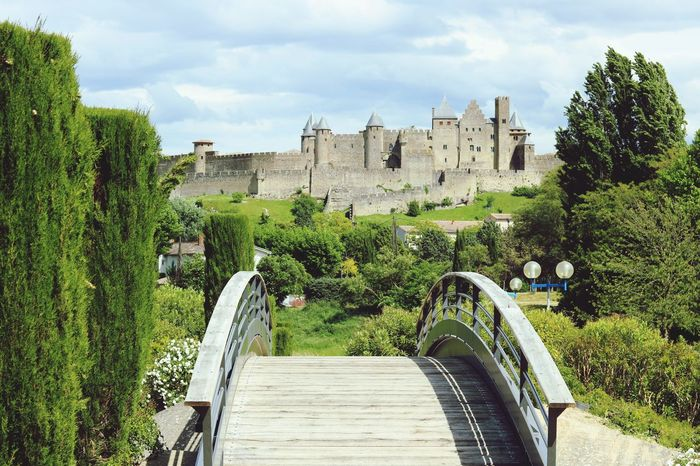 Tree Architecture Built Structure Sky Day Growth Cloud - Sky Building Exterior History Steps No People High Angle View Castle Outdoors Green Color Nature Travel Destinations Water Arch Castles Clouds And Sky Carcassonne Carcassone, France Bridge Tree