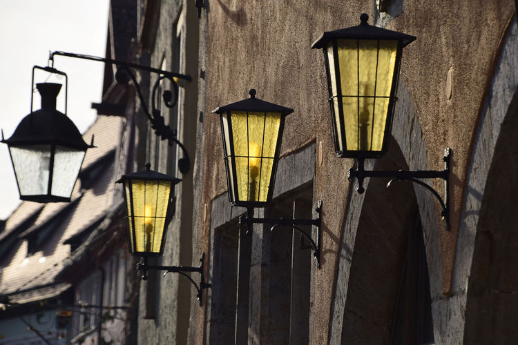 Street lamps, old city in Rotenburg Architecture Building Exterior Built Structure City City Street Day Electric Light Electricity  Light Lighting Equipment Low Angle View No People Old Buildings Outdoors Rotenburg Street Street Lamp Street Light Streetphotography Vintage Paint The Town Yellow