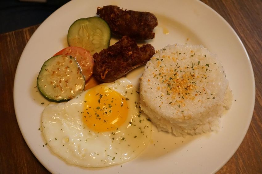 Longsilog Longanisa Food And Drink Egg Food Plate Ready-to-eat Freshness Indoors  Meat Close-up Day Healthy Eating Serving Size Egg Yolk Fried Egg No People Breakfast