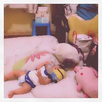 "Baby Marie with skye and ms. Fluffy :""""> so cute nakakagigiiiillll! :)) Babylove Gigil Pretty MsFluffy skye ♡"