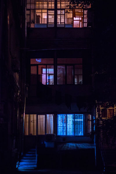 Night Lights Nightphotography Nikon Abandoned Absence Apartment Architecture Building Built Structure Canonphotography Dark Empty House Illuminated Indoors  Night Night View Nightlife No People Railing Residential District Staircase Steps And Staircases Window