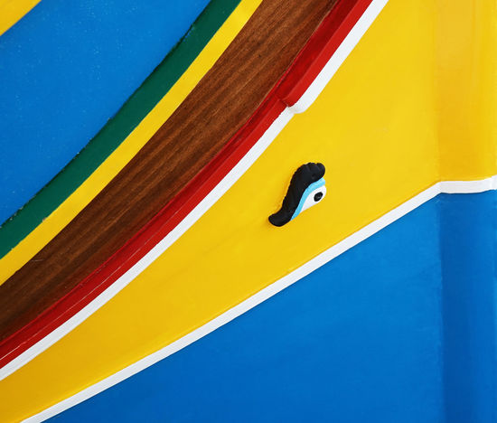 Abstract Photography Boat Boats Culture And Tradition Eye Fisherman Fishing Boat Luzzu Malta Marsaxlokk Medditerenean Osiris Sea Ship Square Traditional Yellow Paint The Town Yellow