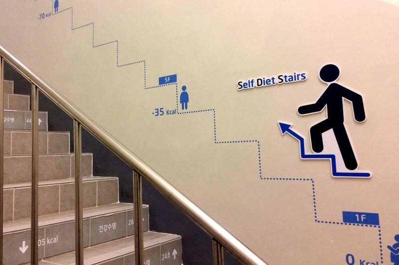 Information sign on steps