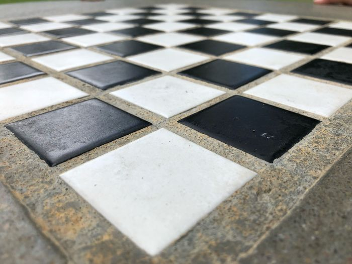 IPhoneography Chess Board Chess Pattern Geometric Shape Full Frame Flooring Shape Checked Pattern Backgrounds Close-up Square Shape Design Tile Black Color Detail Game