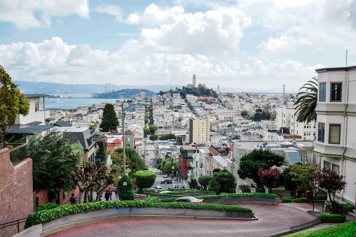 Reward of Ambition Ambition Architecture Built Structure California City Cityscape Cloud - Sky Cloud And Sky Coit Tower High Angle View Lombard Street Oceanfront Outdoors San Francisco Steep Hill Street Travel Destinations United States Of America USA