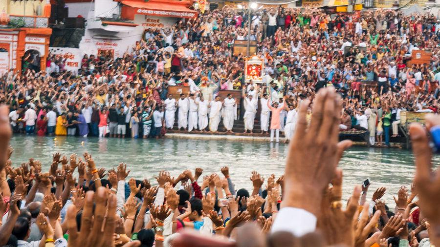 Mega crowd of indian pilgrims or sandhya arati of hardware