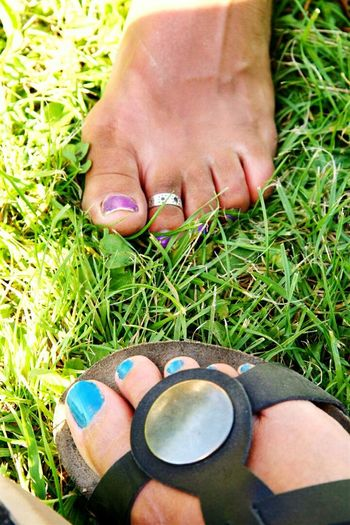 Two feet, one love Women Real People Green Color Grass Lifestyles Human Body Part Sandal Coloured Nails Close Up Photography Photo From Above Nature Photography Object Photography Eyeemphotography EyeEm Best Shots