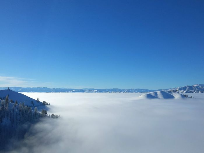 Above the clouds during inversion. Landscape Inversion Weather Above It All Cloud - Sky Sea Of Cloud Surreal Beauty In Nature Winter Wintertime Extreme Weather Beauty In Nature Mountain Scenics Shades Of Winter
