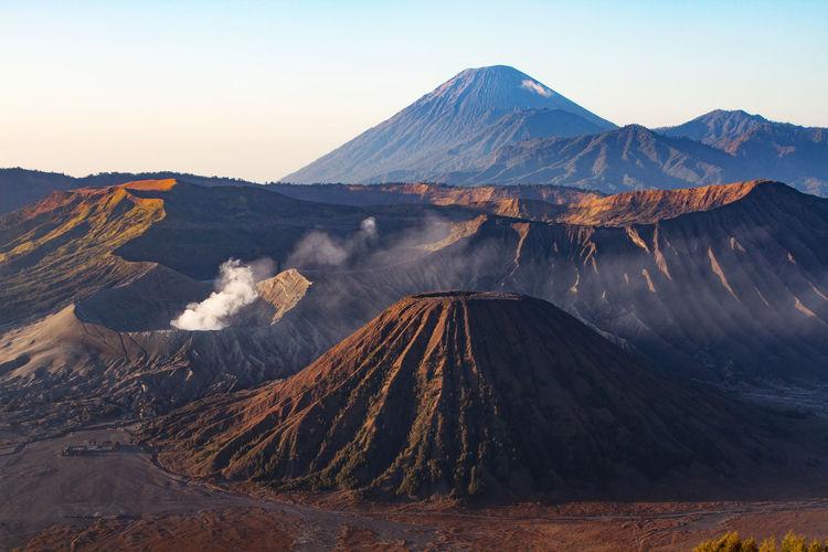 Panoramic view of volcanic mountain range