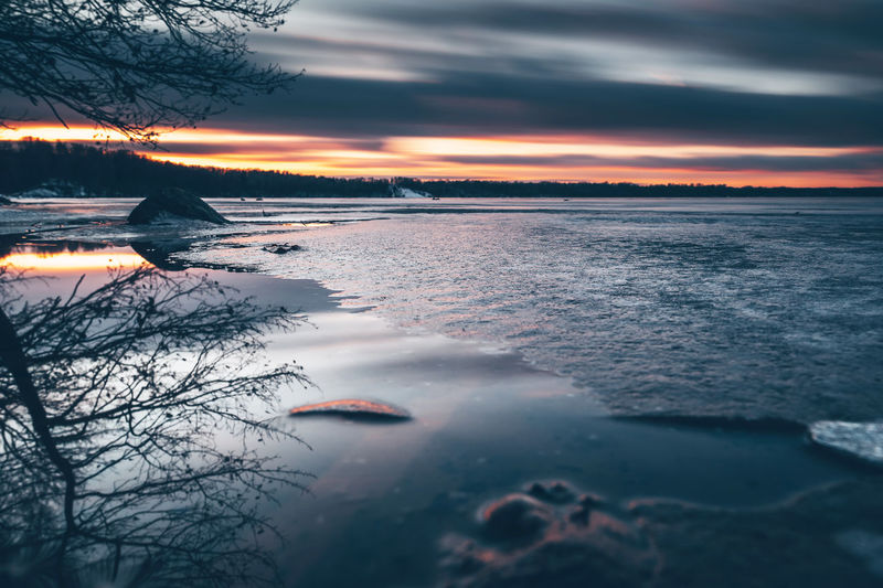 Scenic View Of Lake Against Sky During Sunset During Winter