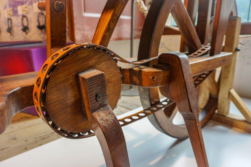 Bike Chain as designed by Leonardo Da Vinci Da Vinci Exhibit Bike Bike Chain Chain Close-up Da Vinci Day Indoors  No People Old Bike Primitive Technology Technology Wood - Material