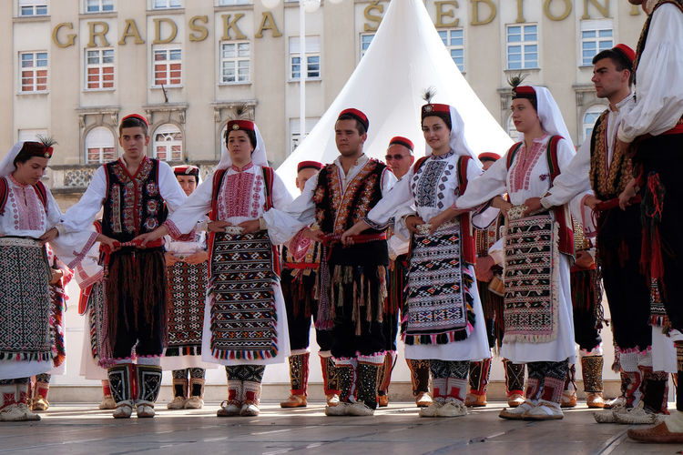 Members of folk group from Vrlika, Croatia during the 50th International Folklore Festival in center of Zagreb, Croatia on July 23, 2016 Celebration Costume Croatia Culture Dance Entertainment Event Festival Folk Folklore Heritage Historic Music Participant Perform Show Style Tradition Vrlika Zagreb