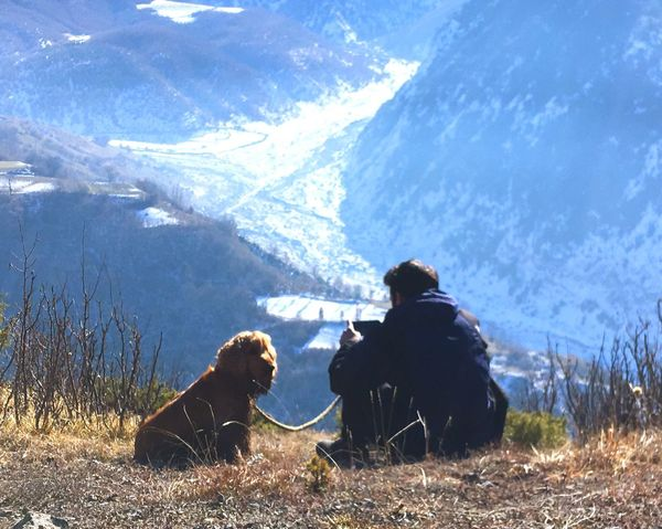 Go Higher Hiking Hanging Out Hikingadventures Fun Rear View Sitting Togetherness Dog Mountain Nature Cold Temperature Real People Leisure Activity Winter Pets Lifestyles Beauty In Nature Outdoors Day Snow Go Higher Inner Power This Is Family