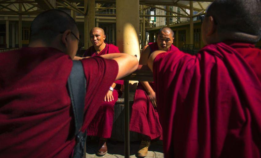Monks having an