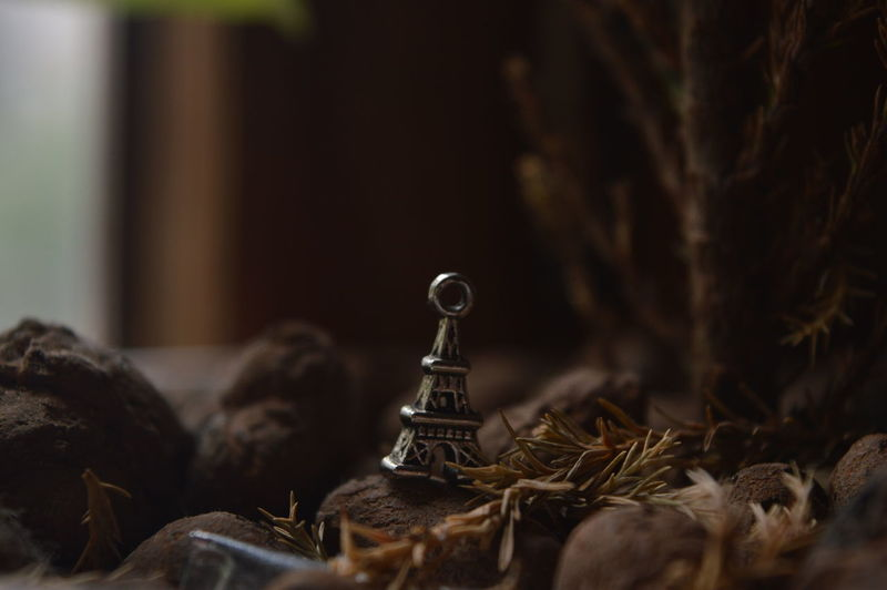Close-up of eiffel tower key chain