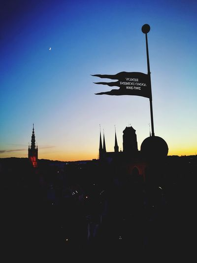 Military City Sunset Silhouette History Sky Architecture Flag Pole Flag