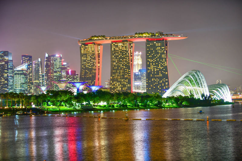 Vibrant color of Singapore skyline view of skyscrapers on Marina Bay Architecture Building Exterior Built Structure Sky City Building Modern Office Building Exterior Water Skyscraper Waterfront Travel Destinations Nature Cityscape No People Outdoors Financial District  Luxury Bay Singapore Marina Bay Sands Cityscape Asian  Panoramic Twilight Urban Sunset Iconic