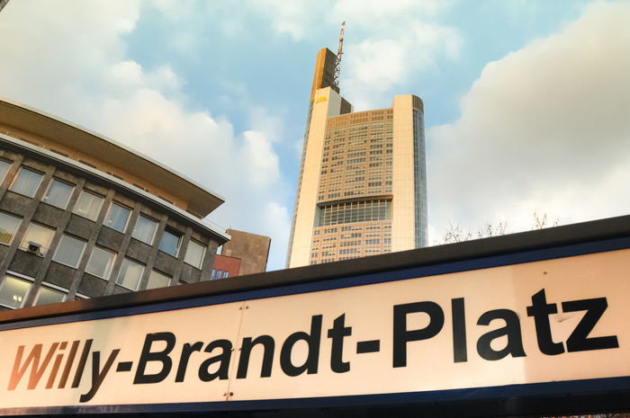 View of building in Willy Brandt Platz in Frankfurt am Main Germany 2009 City Architecture Building Exterior Buildings Built Structure City Cloud - Sky Day Editorial  Low Angle View No People Outdoors Sky Text Willy Willy Brandt Platz
