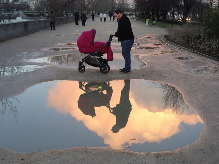 Baby Car Baby Carriage Father Reflection Reflections Stroller Walk Walking