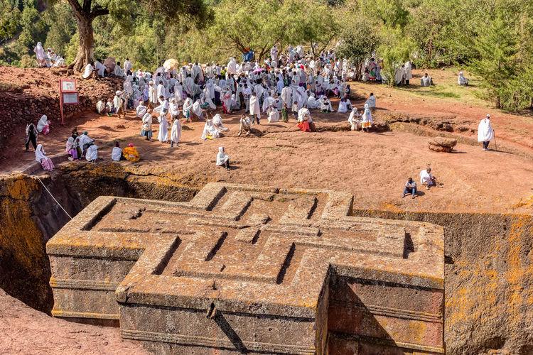 Crowded of pilgrims at lalibela rock-hewn church of beta giorgis
