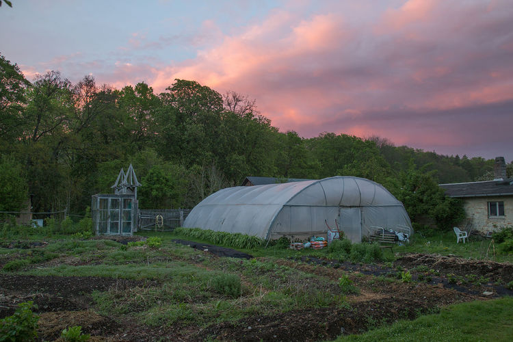 Pink Pink Sky Architecture Beauty In Nature Building Exterior Built Structure Cloud - Sky Day Field Garden Gardeningtime Grass Growth Landscape Nature No People Outdoors Scenics Sky Sunset Tree