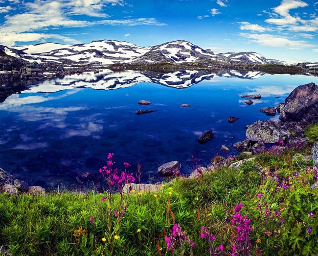 Scenic View Of Snowcapped Mountains And Lake With Rocks And Flowers Against Cloudy Sky