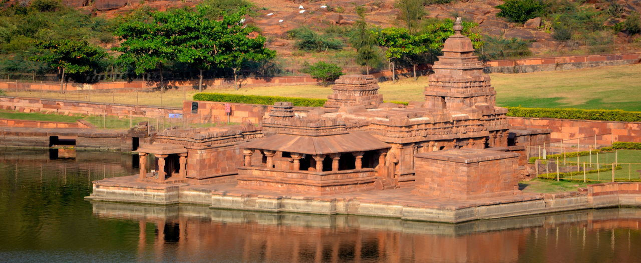 Architecture Badami Historic India Monuments Relfection