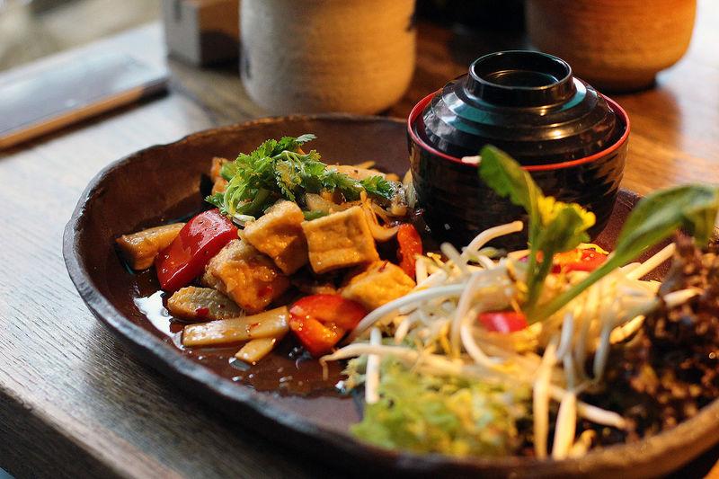 Close-up view of fresh asian style tofu dish