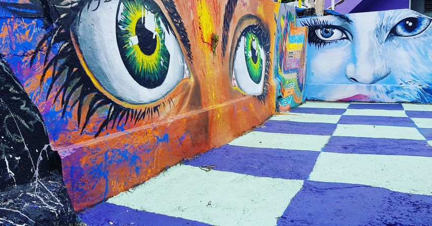 Multi Colored Street Art Painted Image Graffiti Art And Craft Close-up Spray Paint Mural