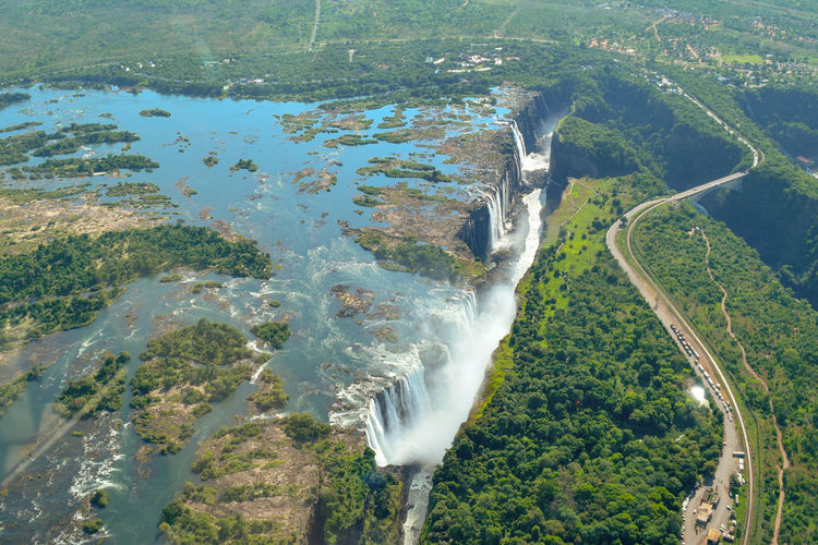 Victoria falls and zambezi river from the air