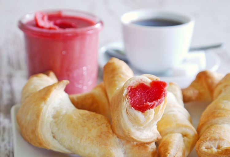 Breakfast Close-up Coffee - Drink Coffee Cup Croissants Day Drink Focus On Foreground Food Food And Drink French Breakfast Freshness Gourmet Food Handmade By Me Home Cooking Indoors  No People Plate Ready-to-eat Strawberry Butter Strawberry Jam Sweet Food Table