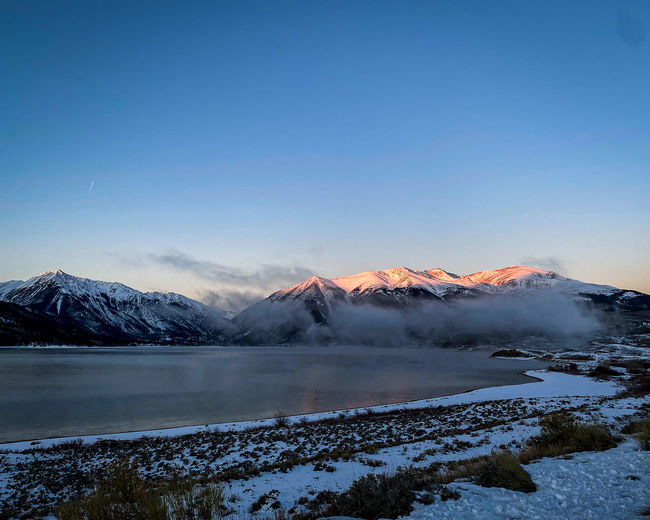 Misty morning over twin lakes