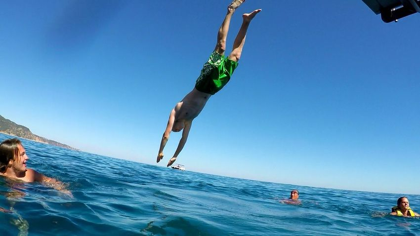 People And Places Blue Clear Sky Tourism Exploration Beauty In Nature Extreme Sports Day Vacations Lifestyles Nature Lloret De Mar Ocean Gopro Goprohero4 Beahero HuaweiP9 Hope