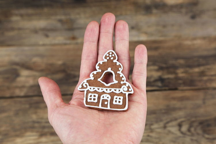 Christmas gingerbread cookies on a wooden background