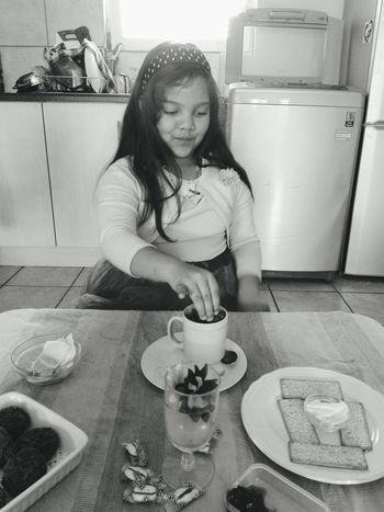 grade school holidays, and a tea party is the best idea I could come up bad at all as she loved every second of it. Child Childhood Girls Domestic Life Tea - Hot Drink Sitting Portrait Tea Tea Cup Kitchen Preschooler EyeEmNewHere