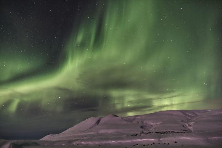 Aurora borealis in iceland near akureyri