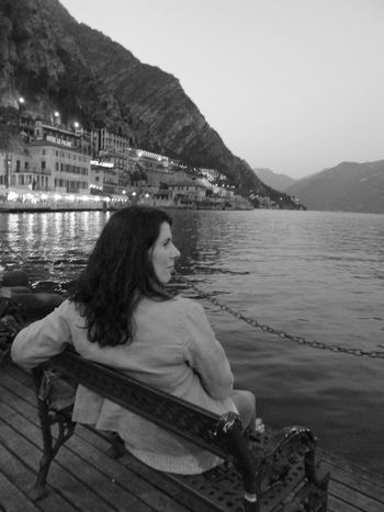 Sitting One Person Side View Mountain Adults Only Relaxation One Woman Only Lake Only Women Adult Water People Blackandwhite Travel Destinations One Young Woman Only Day Wishing You Were Here Lake View Contemplating Miles Away