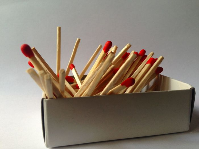 Close-Up Of Matchsticks In Box Against White Background