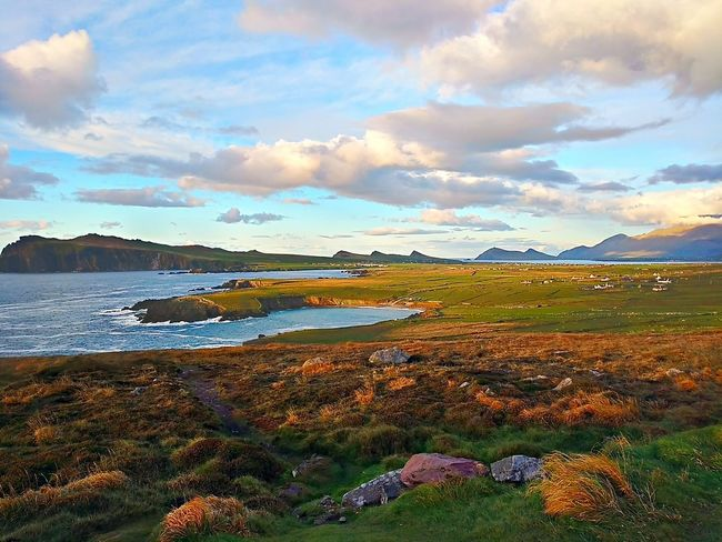 Landscape Multi Colored Nature Beauty In Nature Sky Mountains Cloud - Sky Outdoors Beauty Grass Day No People Kerry Ireland Dingle Peninsula Dunquin Sea And Sky Sea Water
