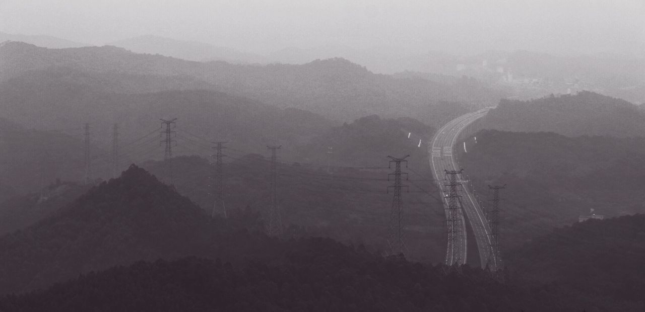 mountain, fog, nature, landscape, foggy, no people, outdoors, day, mist, electricity pylon, tranquility, mountain range, beauty in nature, scenics, sky, tree