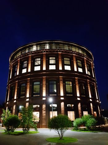 Nightphotography Buildings Blacksky Round House Night Photo Backlight Building Exterior Building Lights