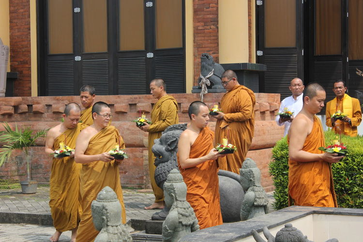 monk ceremony at the monastery Religion Togetherness Building Outdoors Building Exterior Bhikkhu Buddha Tample Monk  Buddhism
