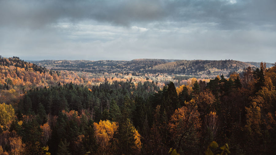 Panoramic view of landscape against sky during autumn