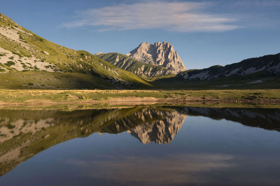 Abruzzo - Italy Gran Sasso Lake Landscape Montains And Water  Nature Reflections Sunrise