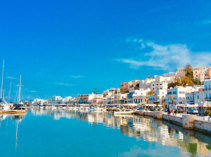 🇬🇷Greece Island Of Naxos Naxos Naxos, Greece Waterfront Water Nautical Vessel Sky People Sailboat Mast Building Exterior Color Blue Greek Islands Greek Cyclades Islands 🇬🇷Greece Port Of Naxos Aegean Sea Aegean An Eye For Travel The Great Outdoors - 2018 EyeEm Awards