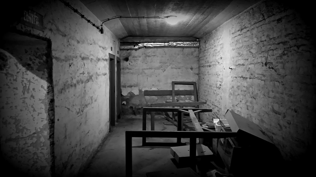indoors, abandoned, no people, chair, architecture, prison, day