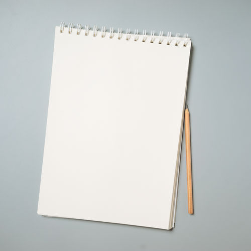 Blank Note Pad Spiral Notebook White Color Paper Page Empty Close-up Reminder High Angle View