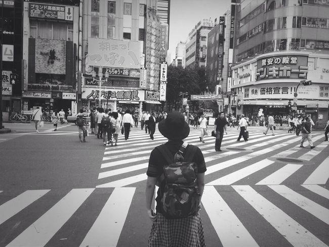 Monochrome Shinjuku Crosswalk