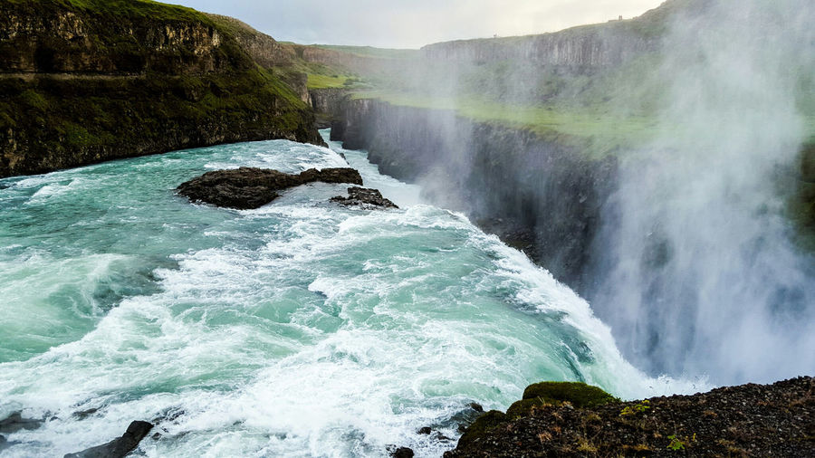 Falls Between the Gap my. Gullfoss Iceland waterfall Water Flow  Flowing Lush Green Mountains Mist Misty Nature EyeEm Nature Lover Nature Travel Travel Photography Picoftheday Pictureoftheday